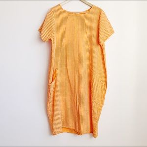short sleeve loose summer tunic dress with pockets